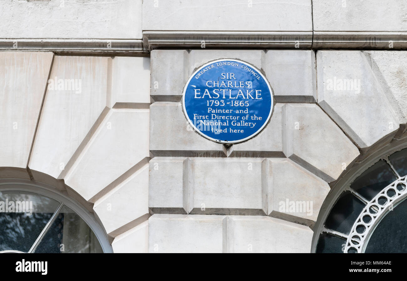Sir Charles Eastlake Blue Plaque - Stock Image