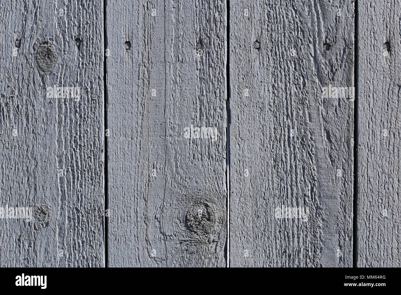 A closeup photo of an exterior of a wooden wall with some horizontal lines and cracked old paint. - Stock Image