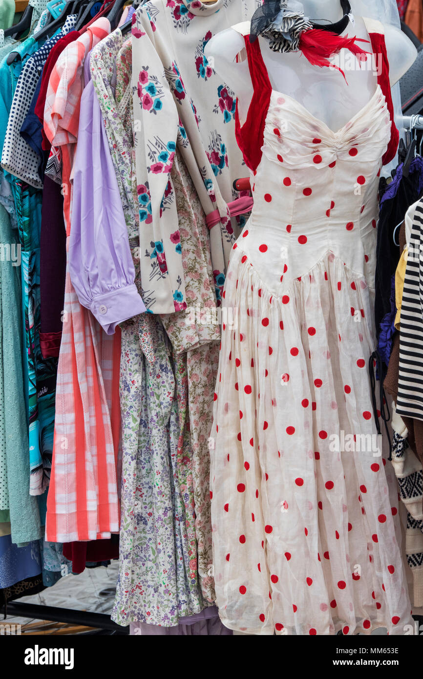 Old Vintage Womens Clothing For Sale On A Rack At A Retro