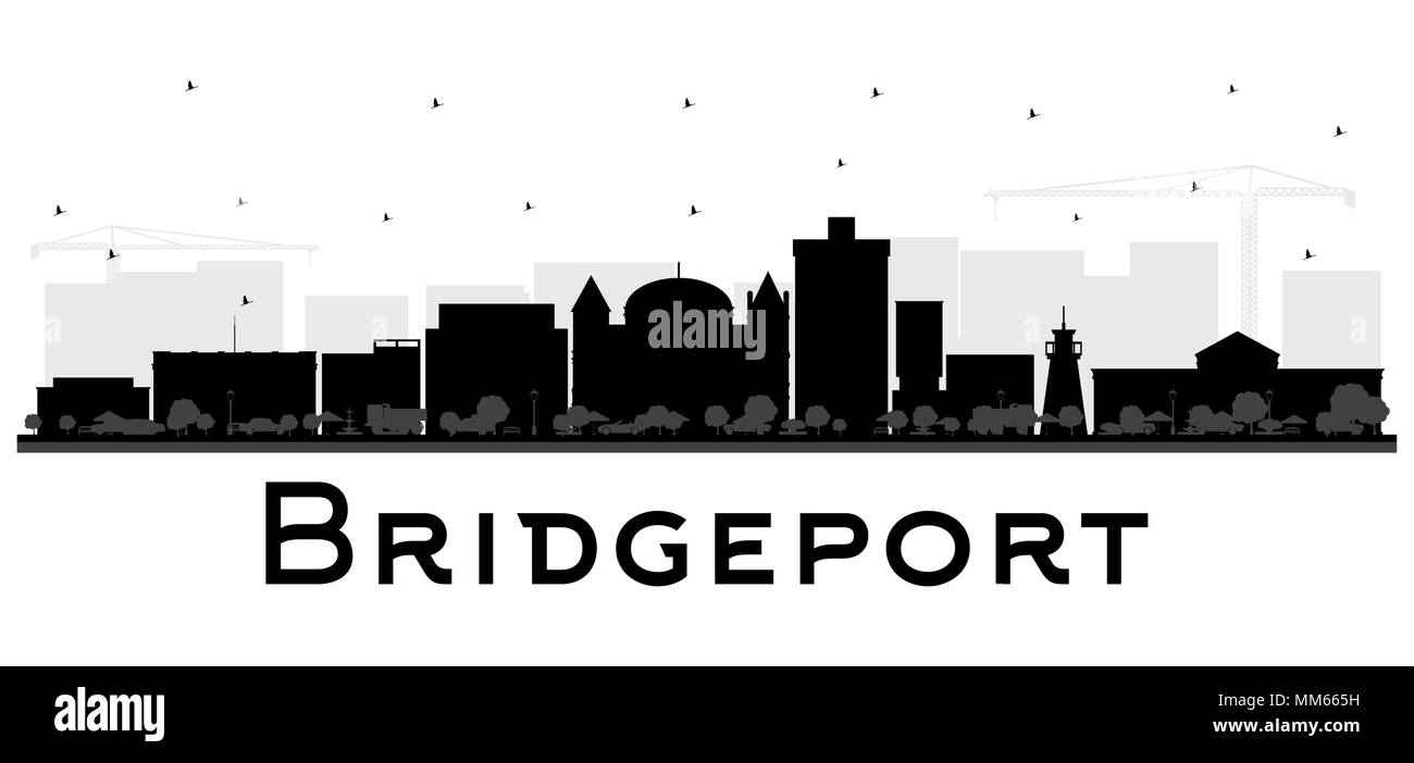 Bridgeport Connecticut City Skyline with Black Buildings Isolated on White. Vector Illustration. Business Travel and Tourism Concept Stock Vector