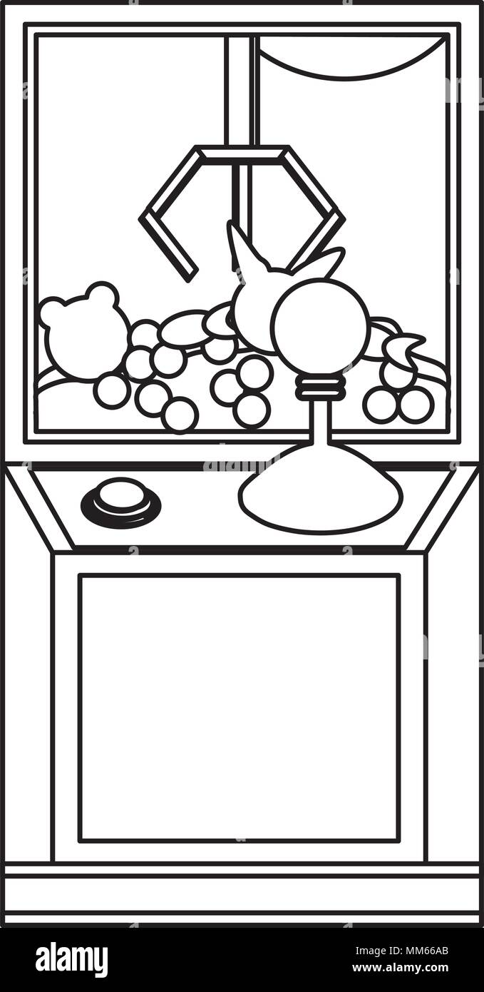 claw arcade machine icon over white background, vector illustration - Stock Image