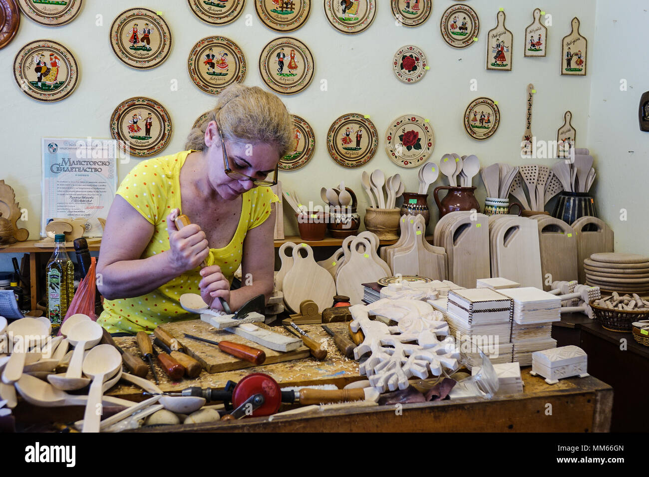 Local woodworker, Village of Arbanasi, Bulgaria Stock Photo