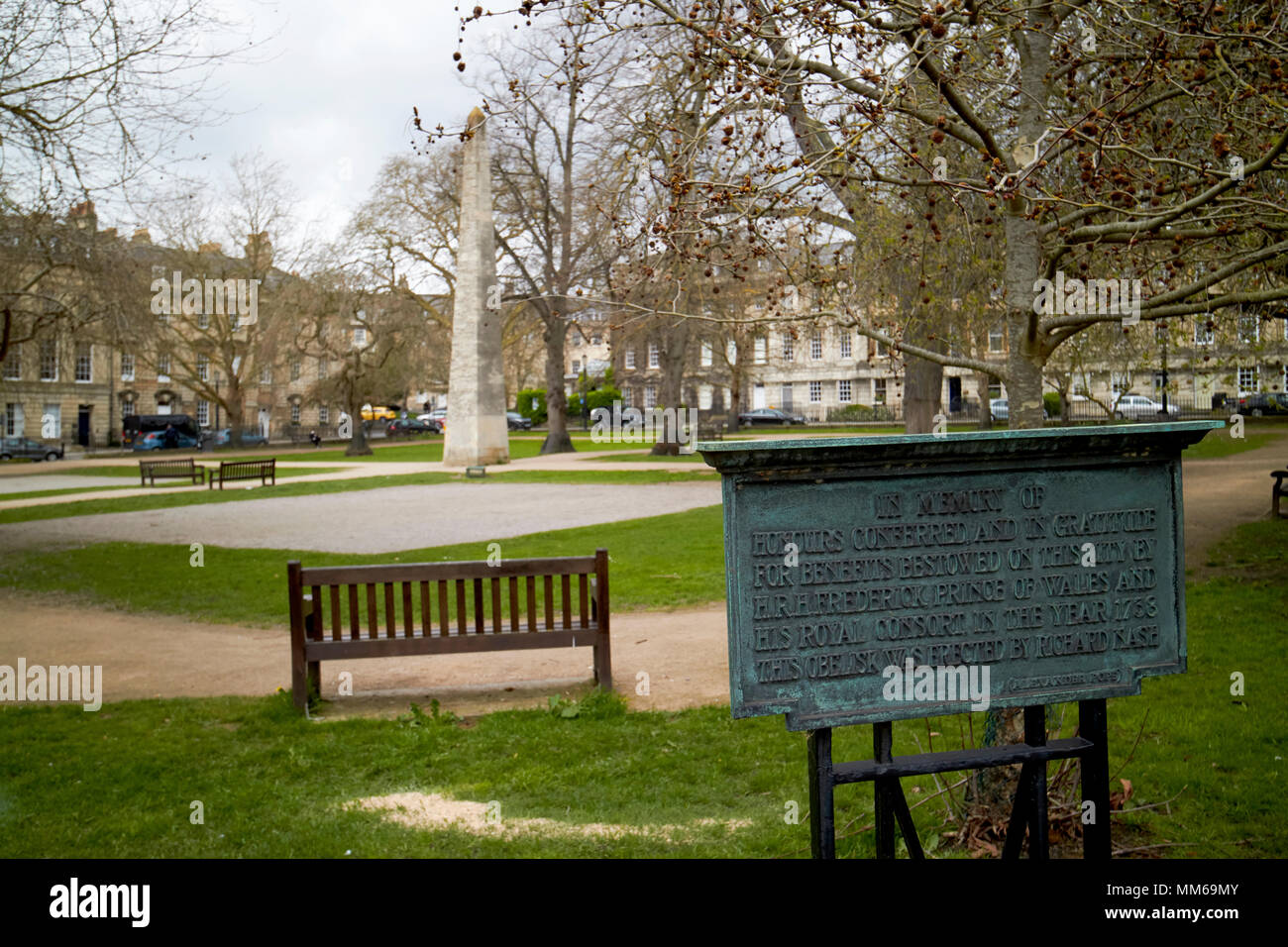 Queen Square Garden and obelisk Bath erected by Beau Nash in honour of Frederick Prince of Wales England UK - Stock Image