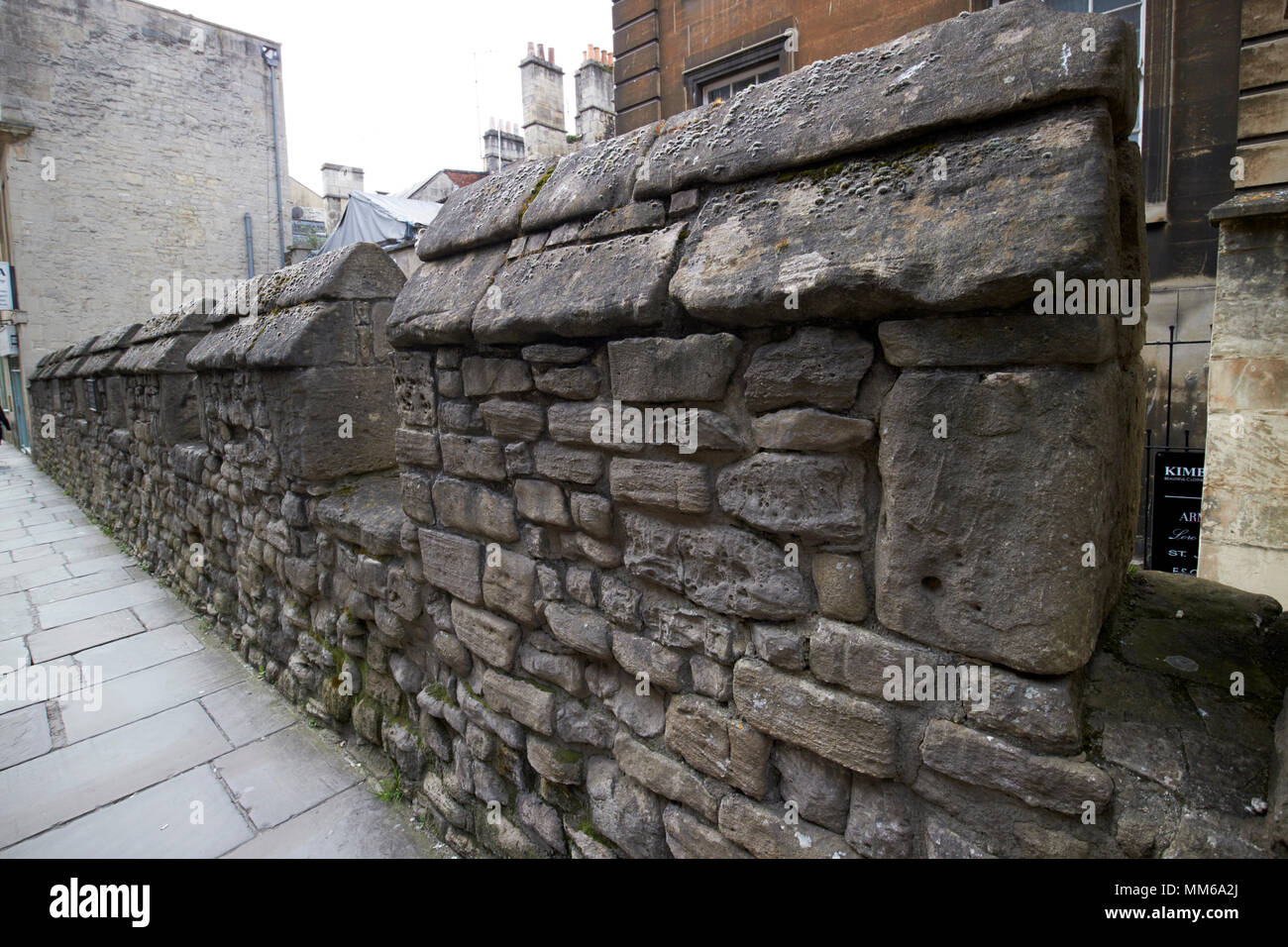 remaining part of the medieval wall of the city of Bath England UK - Stock Image