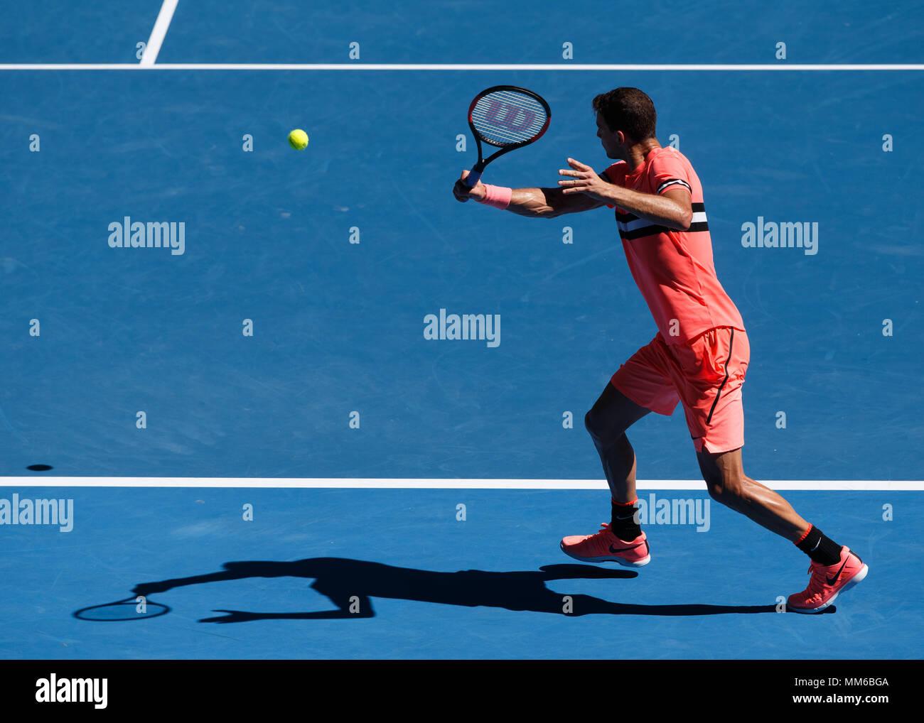 Bulgarian tennis player Grigor Dimitrov playing in Australian Open 2018 Tennis Tournament, Melbourne Park, Melbourne, Victoria, Australia. - Stock Image