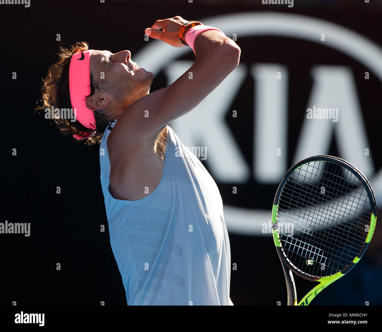 Spanish tennis player Rafael Nadal reacts emotional at the  Australian Open 2018 Tennis Tournament, Melbourne Park, Melbourne, Victoria, Australia. - Stock Image