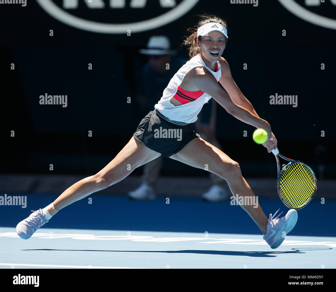 Taiwanese tennis player Su-Wei Hsieh playing backhand shot in Australian Open 2018 Tennis Tournament, Melbourne Park, Melbourne, Victoria, Australia. - Stock Image