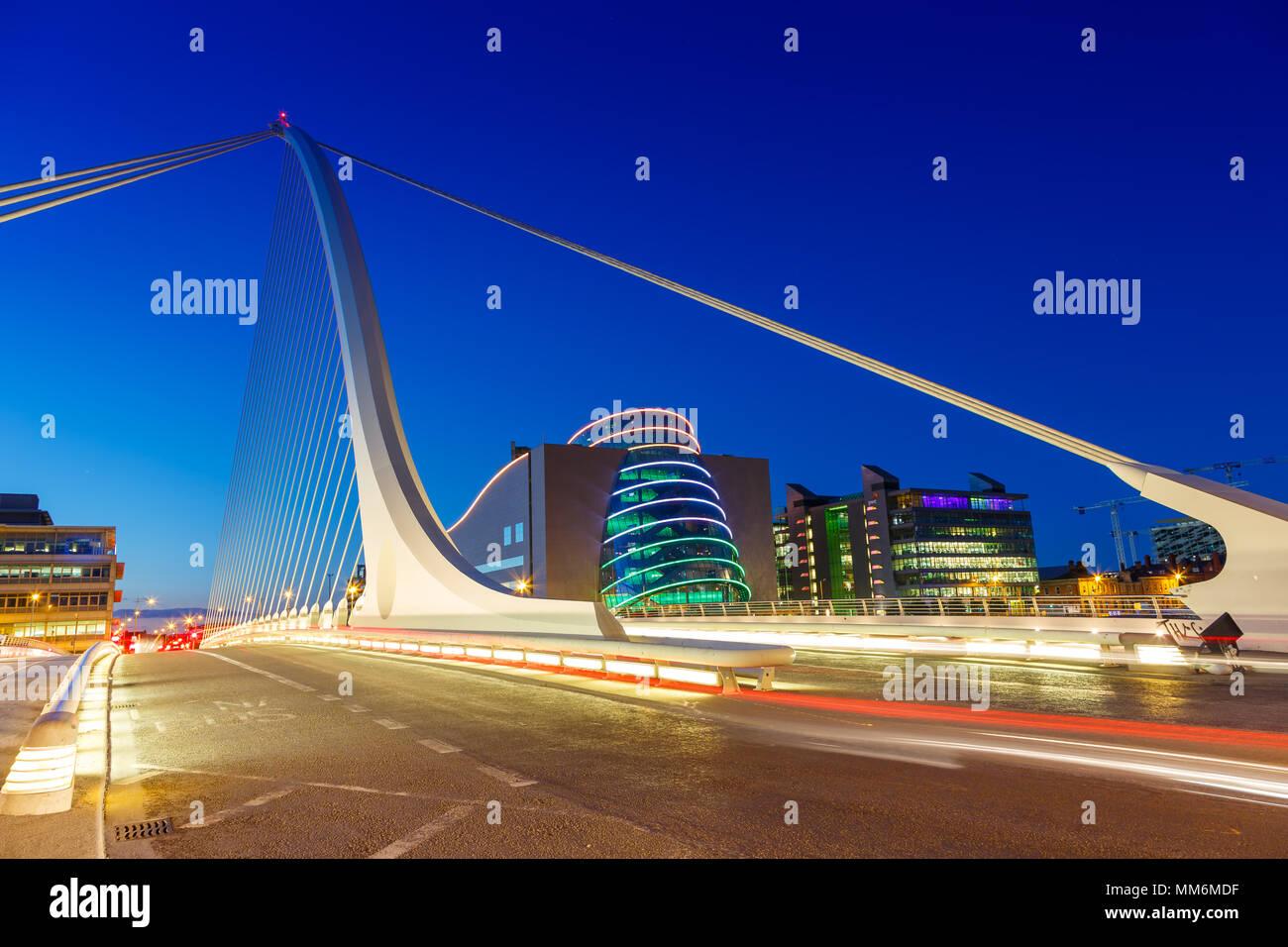 Dublin Ireland Samuel Beckett Bridge twilight travel traveling architecture Stock Photo