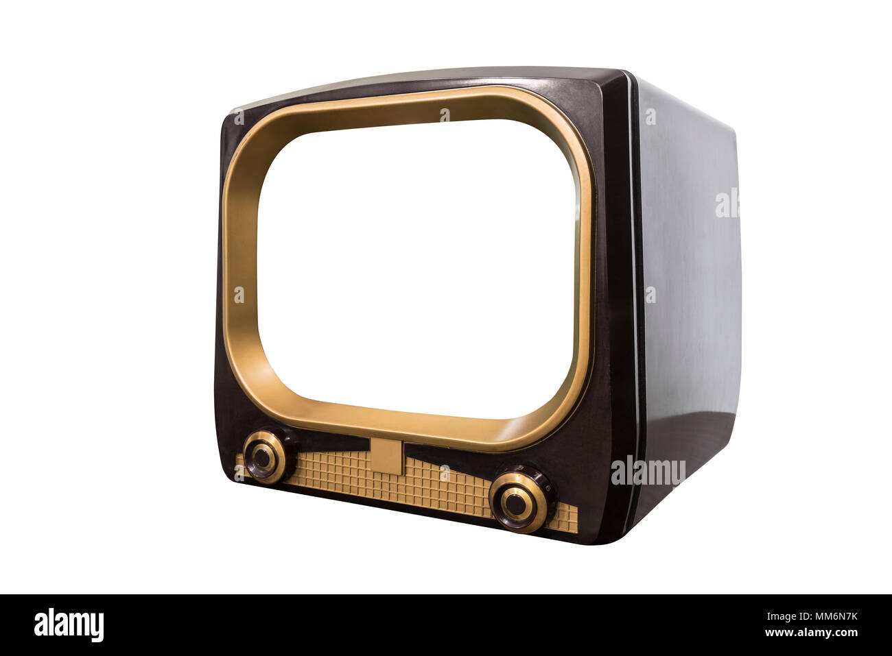 Vintage 1950s television isolated on white with cut out screen and clipping path. - Stock Image