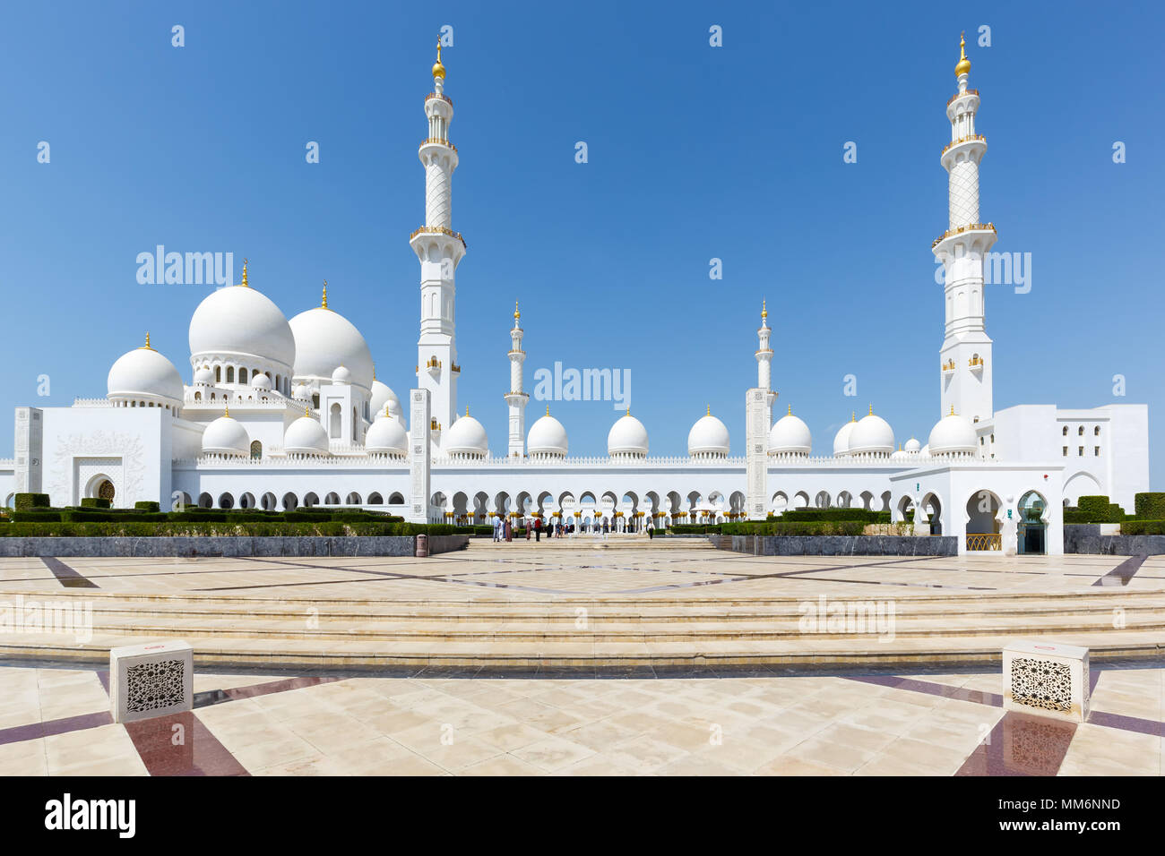 Sheikh Zayed Grand Mosque Abu Dhabi minarets United Arab Emirates UAE - Stock Image