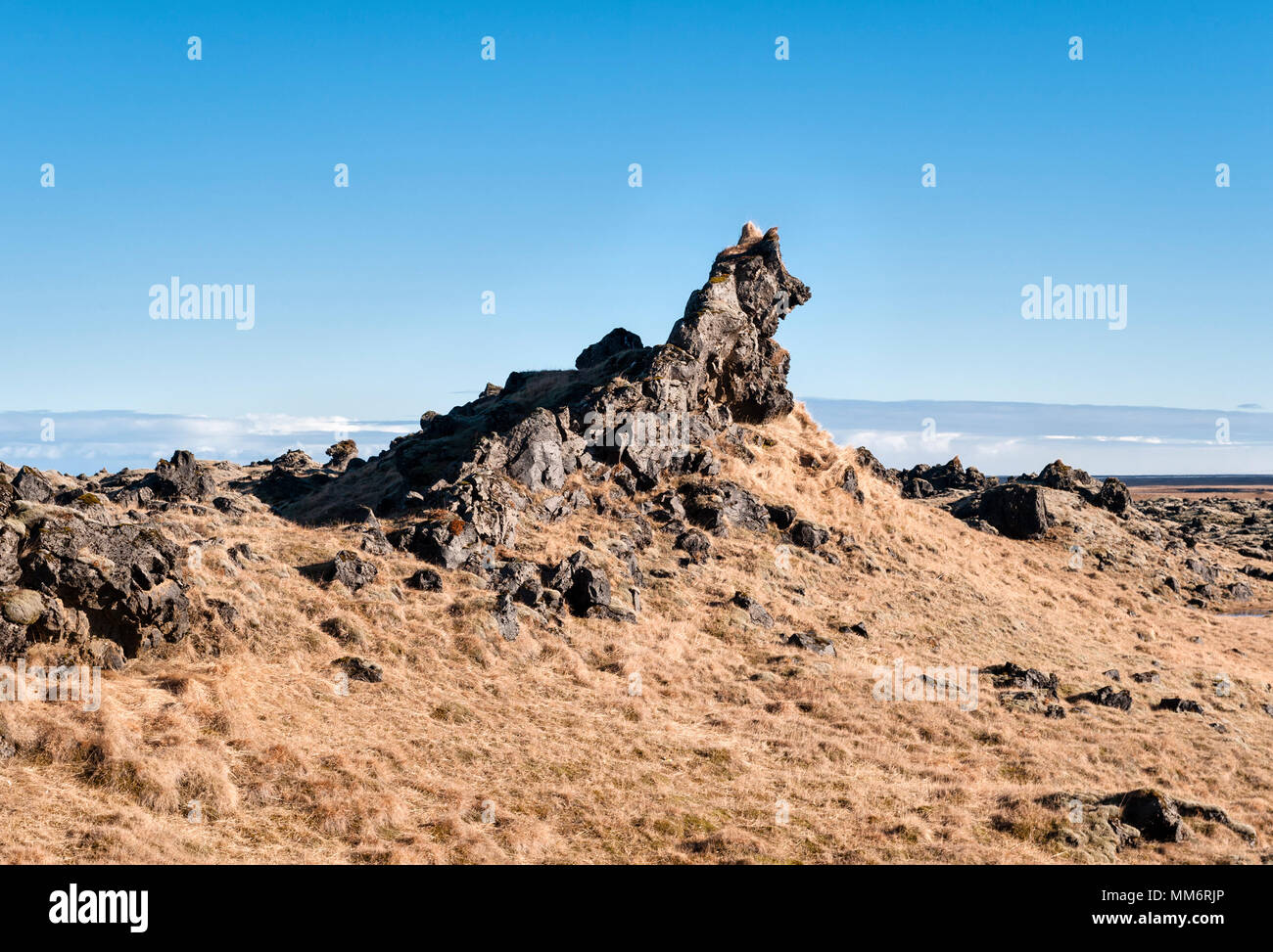 South Iceland - a lava outcrop shaped like a wolf's head, seen from the Ring Road - Stock Image