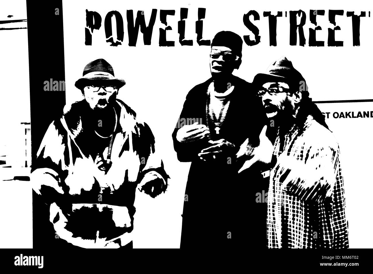 Gospel trio performing at the Powell Street BART station in San Francisco. Photoshop threshold manipulation. - Stock Image