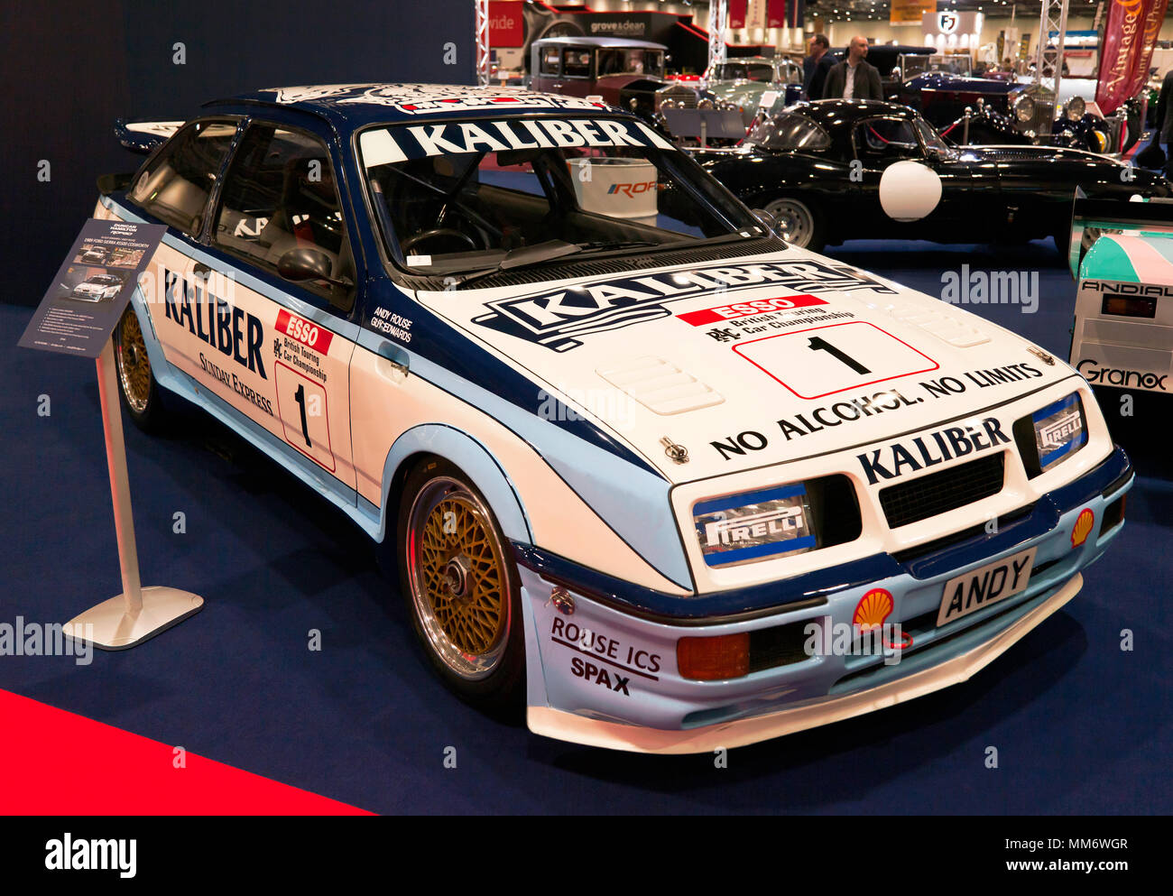 A 1989  Ford Sierra RS500  Cosworth, driven by Andy Rouse  and Guy Edwards, on display at the 2018 London Classic Car Show Stock Photo
