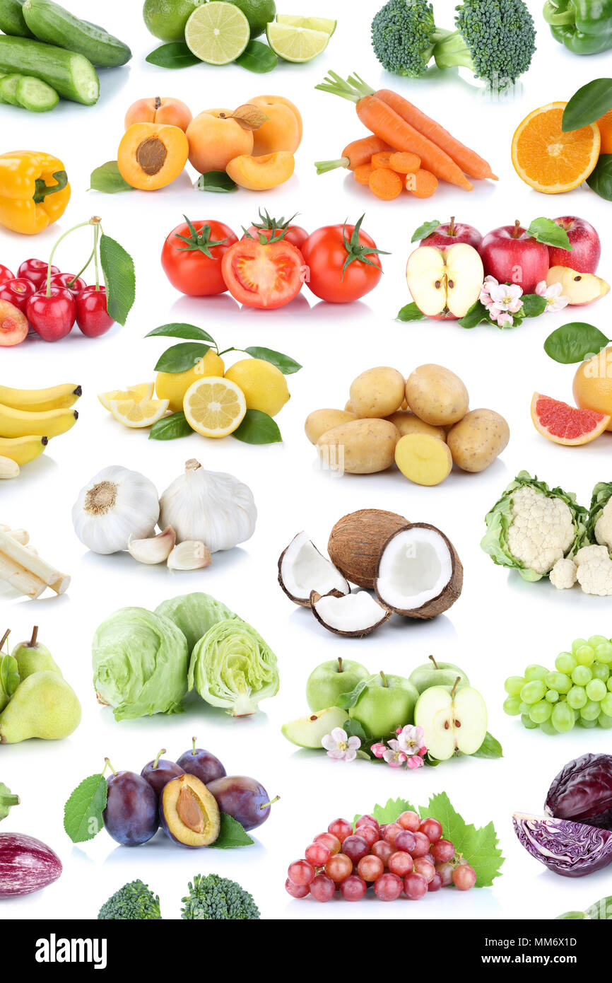 Fruits and vegetables collection isolated background apples banana oranges lemons grapes colors tomatoes fruit on a white background - Stock Image