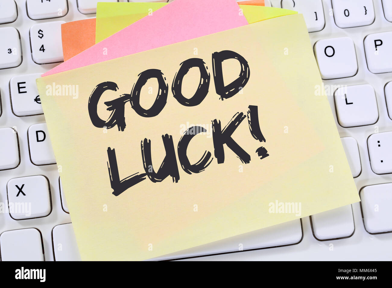 Good luck success successful test wish wishing business note paper computer keyboard - Stock Image