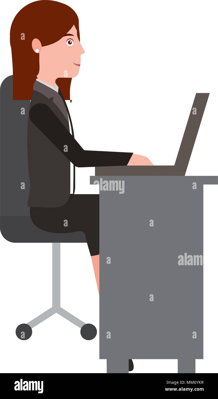 Amazing Young Woman In Office Chair And Desk Avatar Character Vector Creativecarmelina Interior Chair Design Creativecarmelinacom