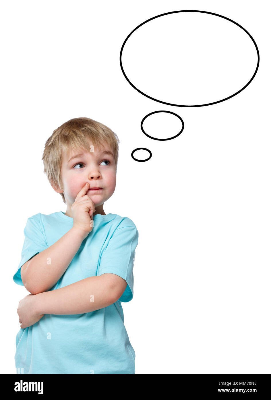 Child kid little boy think thinking daydreaming speech bubble copyspace copy space - Stock Image