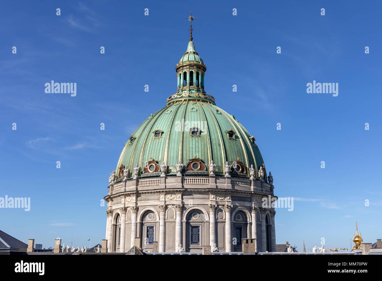The dome of Frederik's Church (The Marble Church), Copenhagen, Denmark - Stock Image
