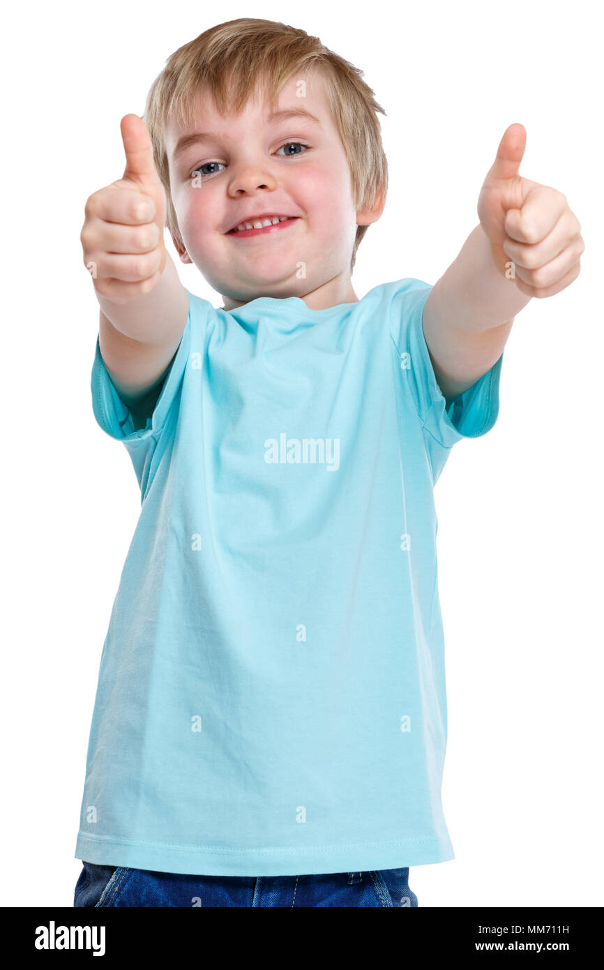 Child kid smiling little boy success successful winner thumbs up isolated on a white background - Stock Image