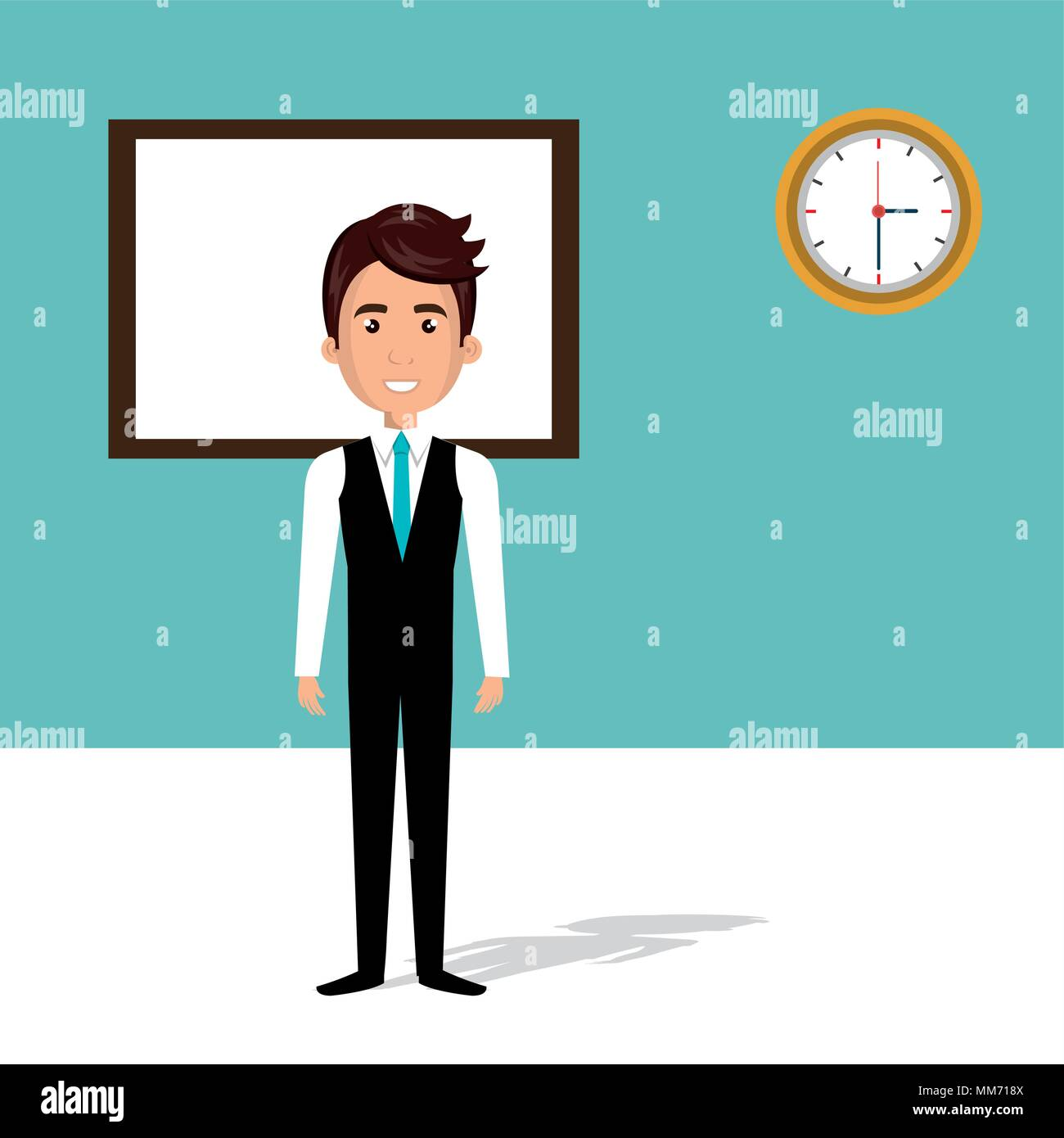 businessman in the classroom avatar character - Stock Image