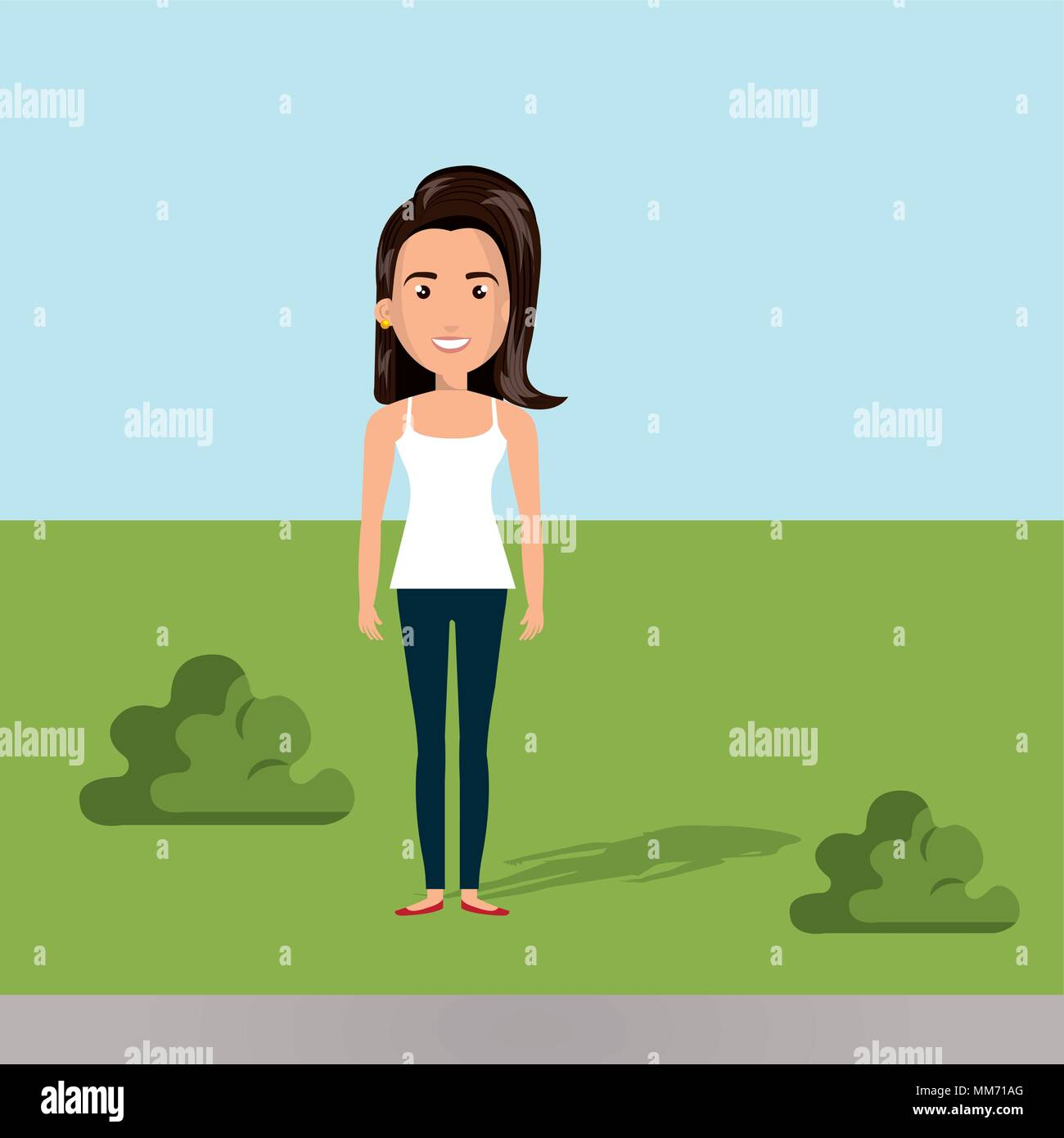 young woman in the camp character scene - Stock Vector