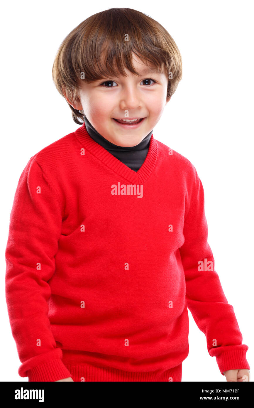 Child kid boy upper body portrait smiling face isolated on a white background - Stock Image