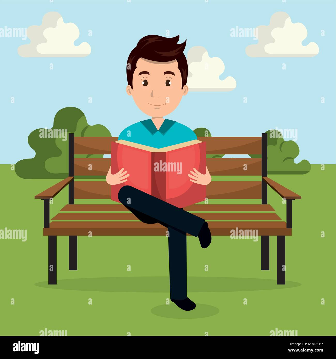 Young Man Reading Book In The Park Character Stock Vector