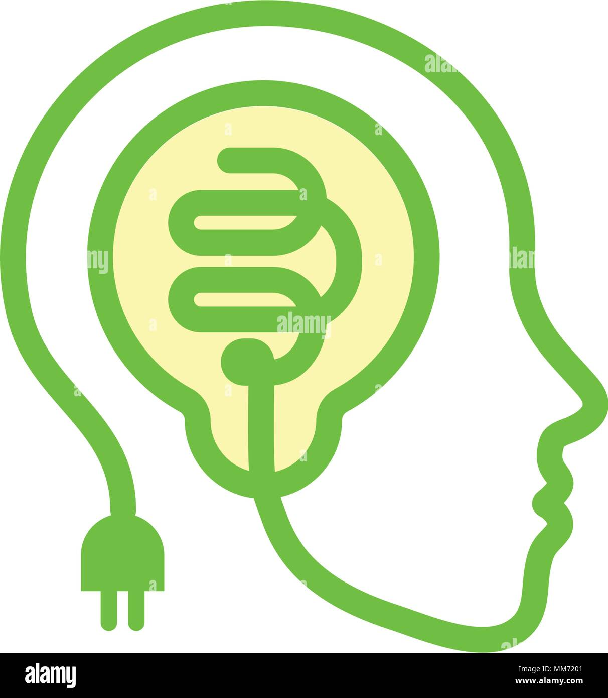 Face Silhouette Contour From Stylized Electric Wire With A Light Bulb Inside The Head Idea Icon Creative Brain Symbol Brainstorming Outline