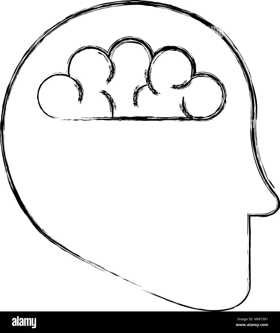 human profile with brain - Stock Image
