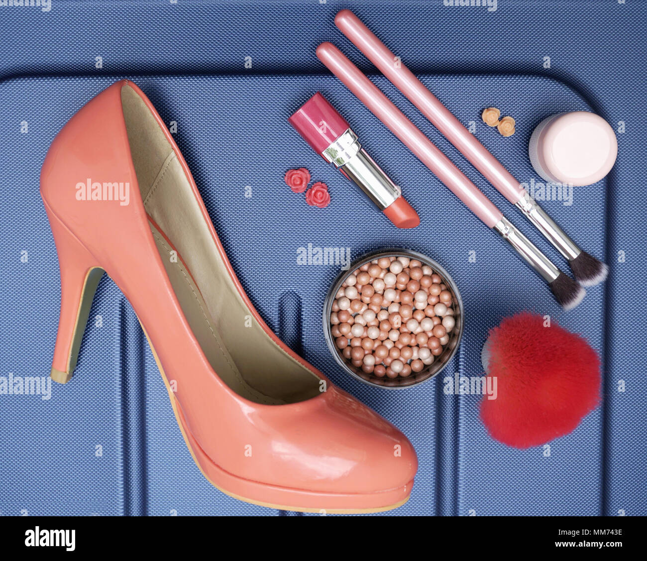 Woman Stuff Make Up Product And Shoe In Pastel Color On The