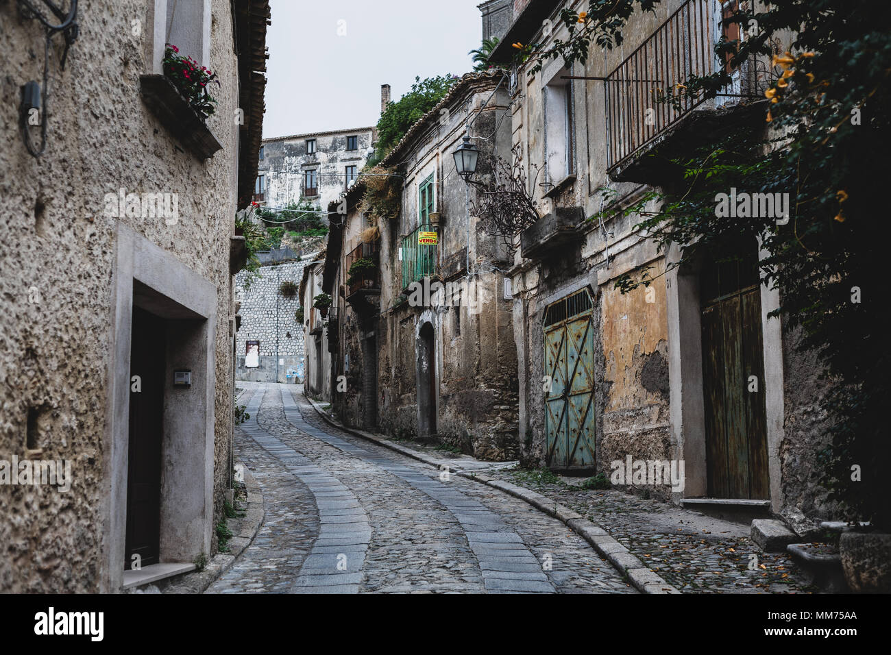 A street in the village of Gerace, Calabria, Italy - Stock Image