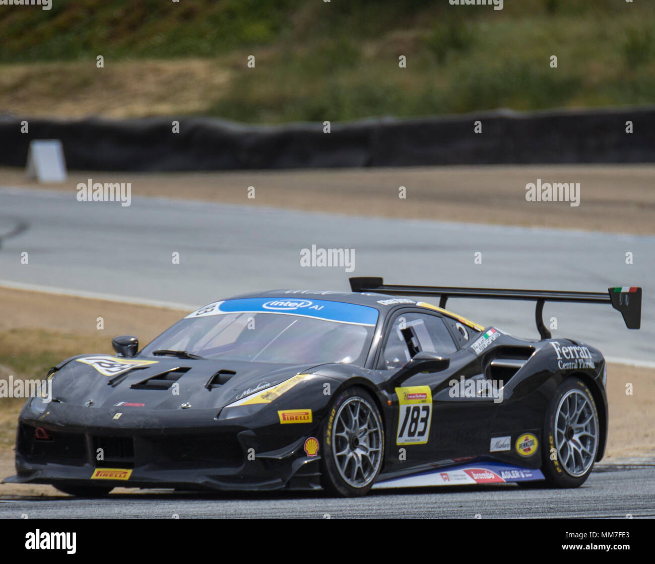 Monterey, CA, USA. 6th May, 2018. A. #183 Chas Bruck coming out of turn 3 during the Ferrari Challenge Coppa Shell Race 2 at WeatherTech Raceway Laguna Seca Monterey, CA Thurman James/CSM/Alamy Live News Stock Photo