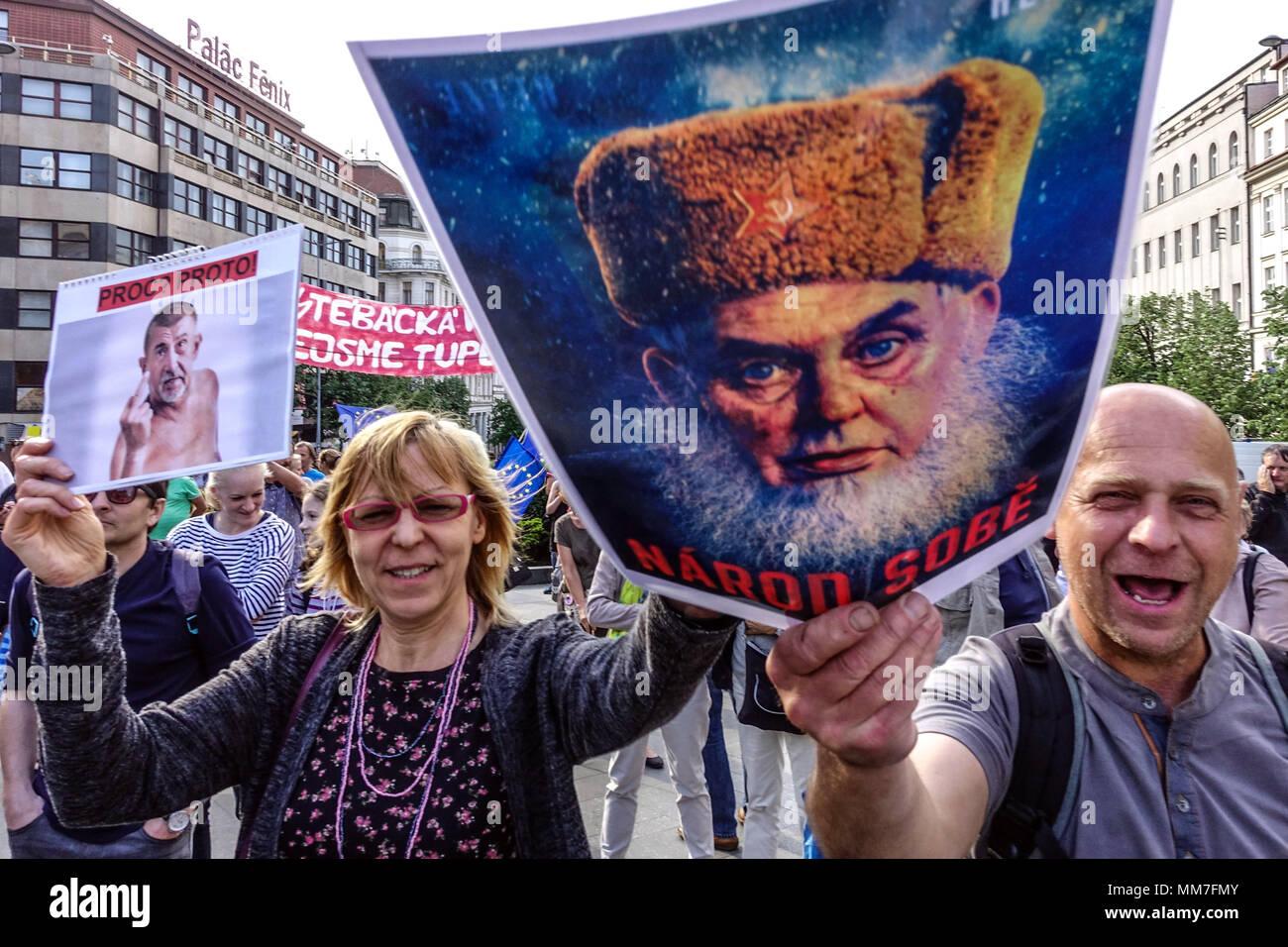 Prague, Czech Republic. 9th May, 2018. Demonstration against Premier Babis, President Zeman and the Communists, Credit: Radim Beznoska/Alamy Live News - Stock Image