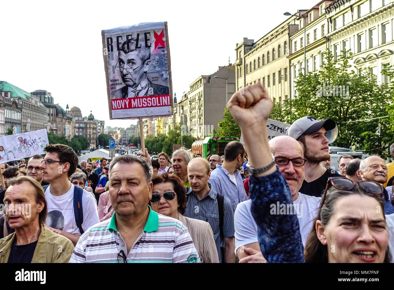 Prague, Czech Republic. 9th May, 2018. Demonstration against Premier Babis, President Zeman and the Communists Credit: Radim Beznoska/Alamy Live News - Stock Image