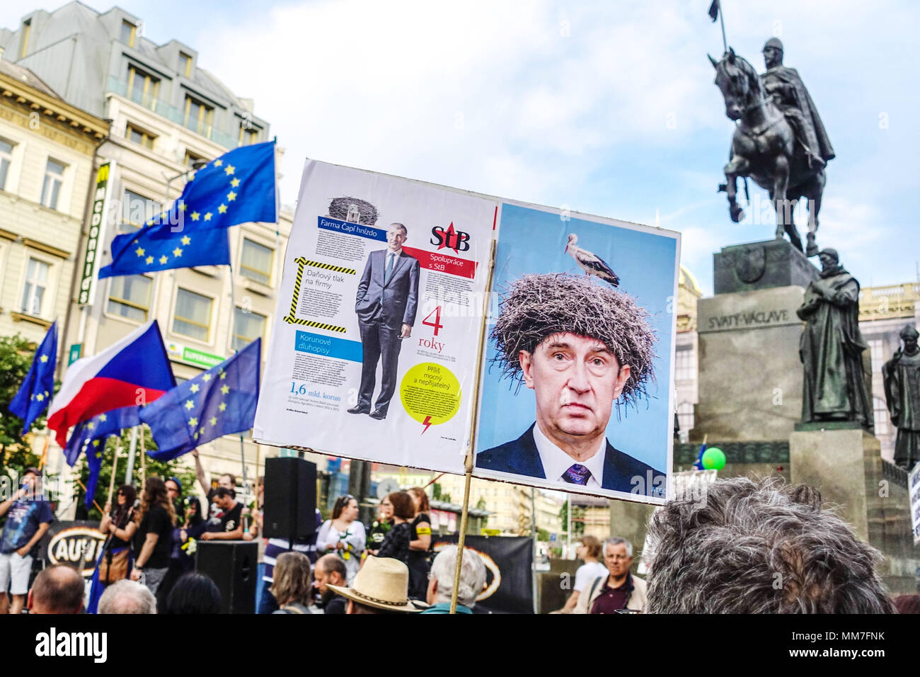 Prague, Czech Republic. 9th May, 2018. Demonstration against Premier Babis, President Zeman and the Communists - Stock Image