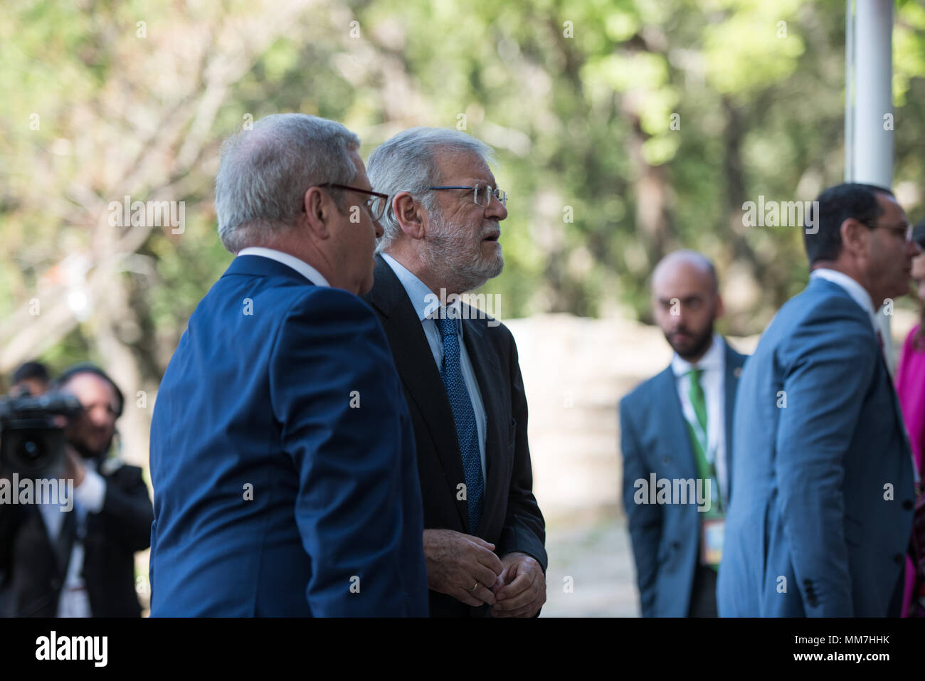 Monasterio de Yuste, Cuacos de Yuste, Spain. 9th May, 2018 - (c) Juan Carlos Rodríguez Ibarra Spanish politician of the Spanish Socialist Workers' Party (PSOE) and ex President of the Assembly of Extremadura arrives to the Carlos V Award ceremony where Antonio TAJANI, European Parliament received from Felipe VI, King of Spain the Carlos V Prize.1 Credit: Esteban Martinena Guerrero/Alamy Live News - Stock Image