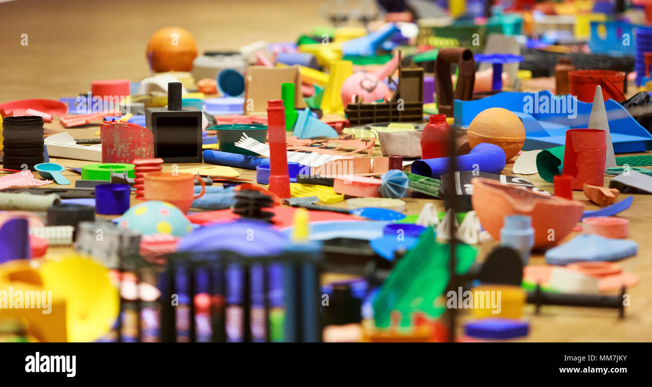 Edinburgh, Scotland. UK. 10 May 2018. Press call two new exhibitions display City Art Centre: Scottish artist Robert Callender.  His works Plastic Beach and Coastal Collection and The Re(a)d Bed, which focuses on therapeutic art and design. Credit: Pako Mera/Alamy Live News - Stock Image