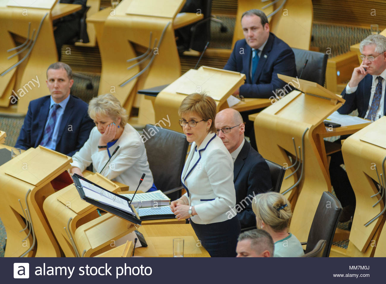 Edinburgh, UK. 10th May, 2018.   Nicola Sturgeon speaking during First Ministers Questions in the Scottish Parliament . Photo: Roger Gaisford/Alamy Live News - Stock Image