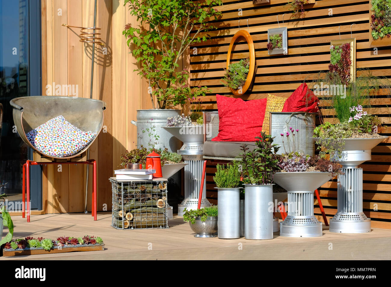 Malvern, UK. RHS Malvern Spring Festival - Thursday 10th May 2018 - Opening Day for this years RHS Malvern Spring Festival - The show gardens include Outside Number 39 designed by Elaine Portch features a garden solution for the confined space of an urban balcony - Photo Steven May / Alamy Live News - Stock Image