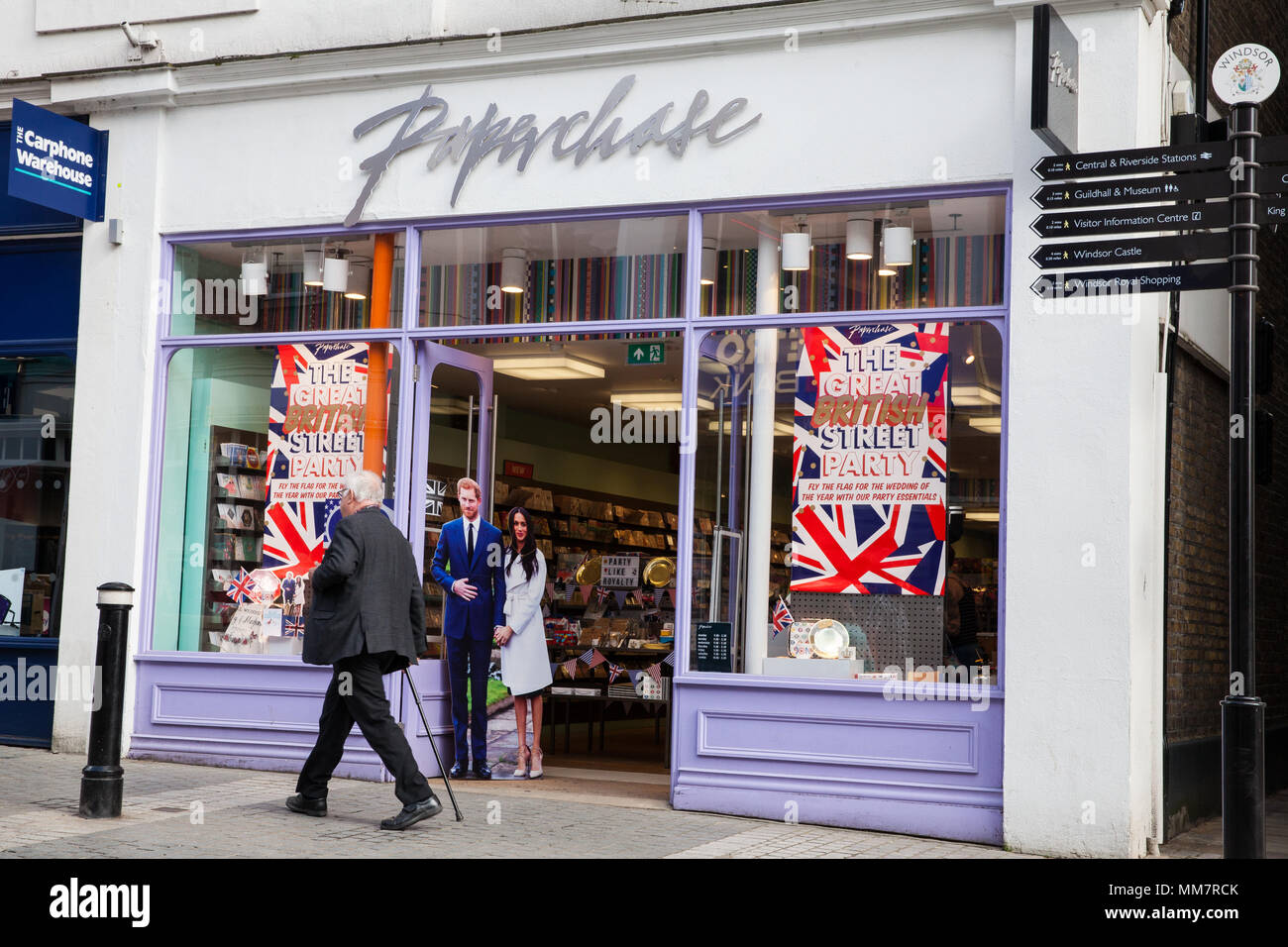 Windsor, UK. 10th May, 2018. Many shops around the town centre are displaying cardboard cutouts of Prince Harry and Meghan Markle in preparation for their wedding on 19th May. Credit: Mark Kerrison/Alamy Live News - Stock Image