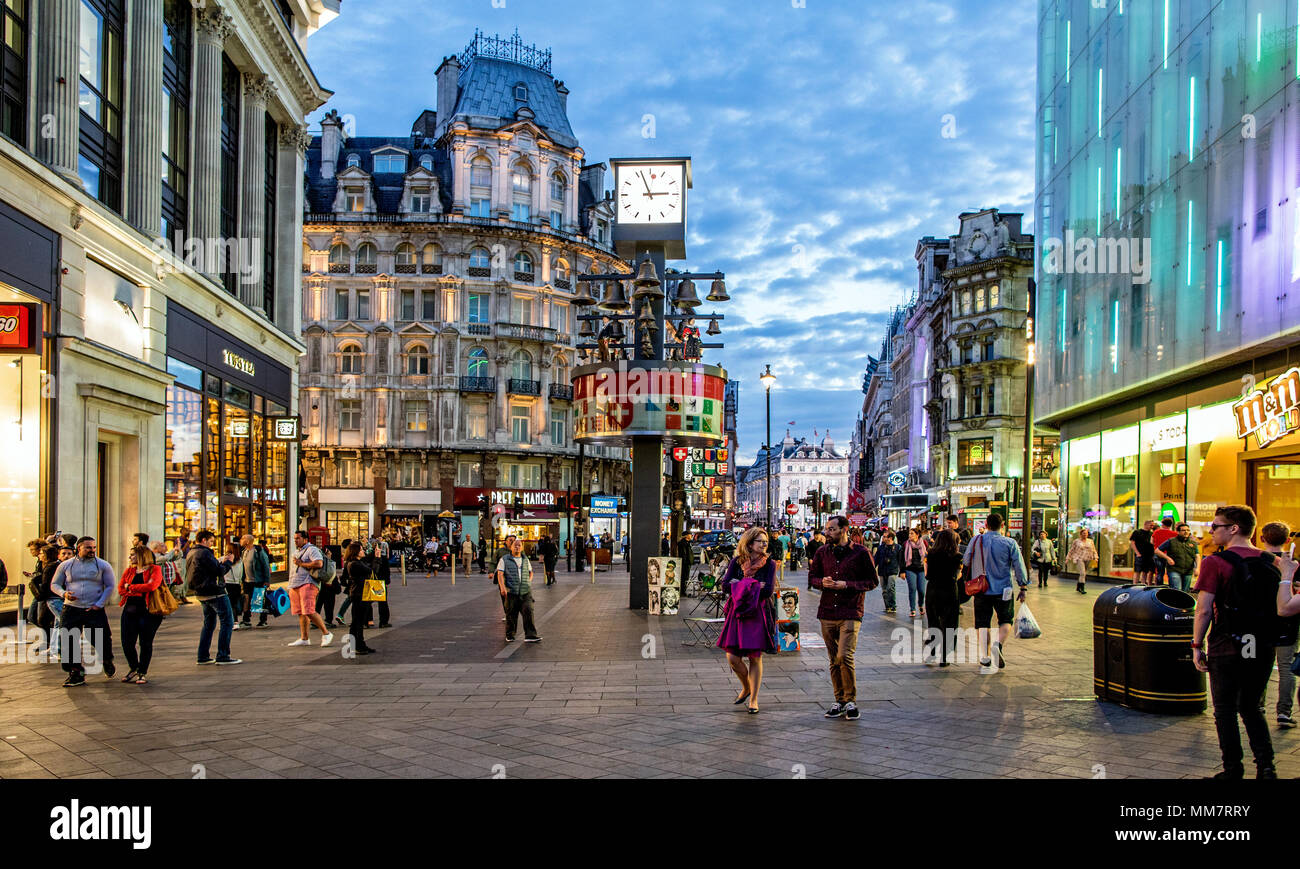 Leicester Square at Night London UK - Stock Image
