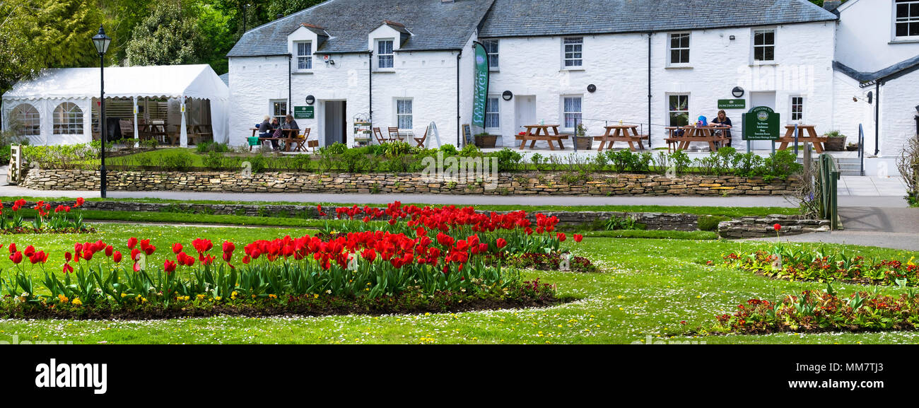 A panoramic view of the Heritage Cottages in Trenance Park in Newquay in Cornwall. - Stock Image