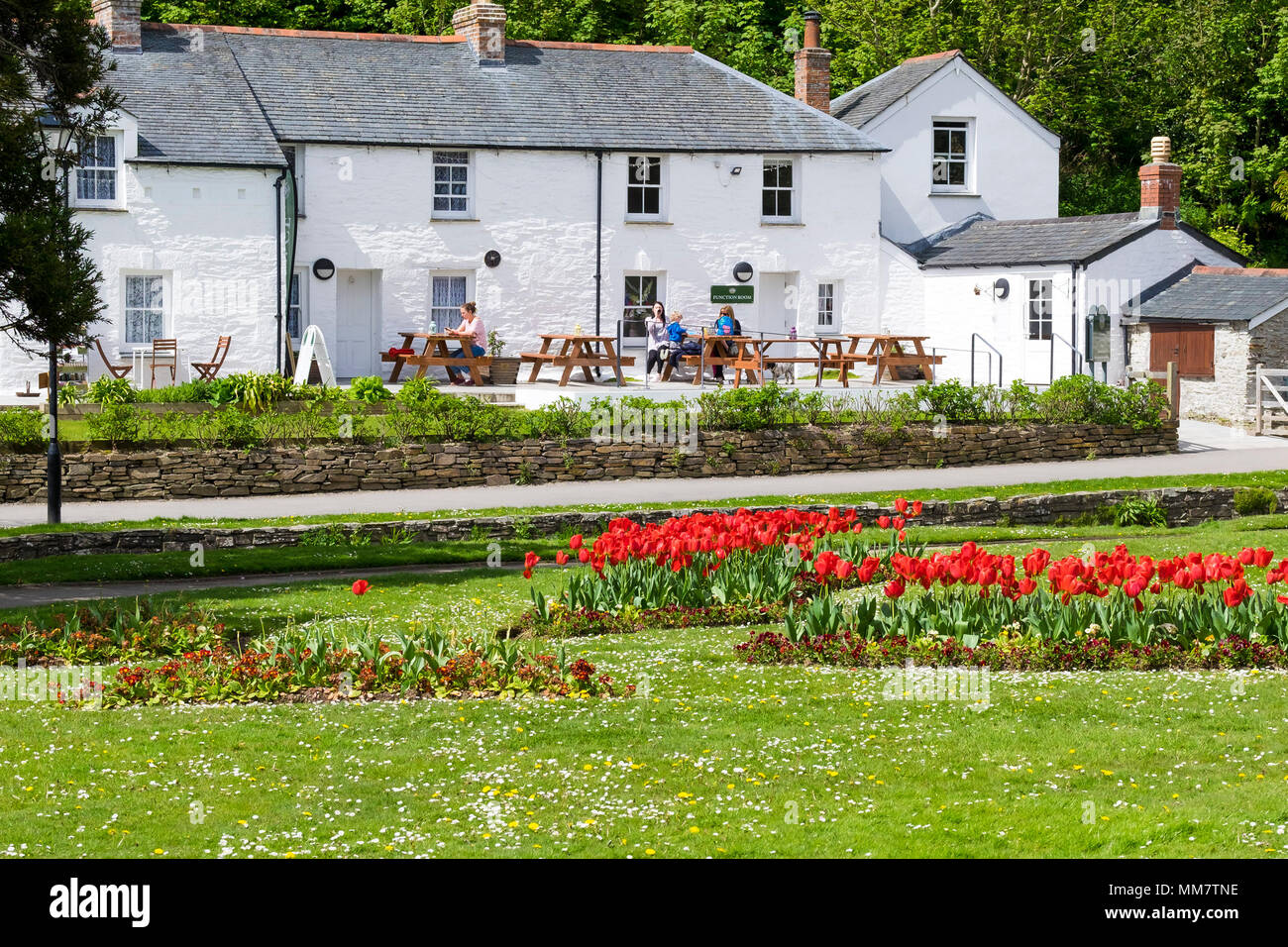The Heritage Cottages in Trenance Park in Newquay in Cornwall. - Stock Image