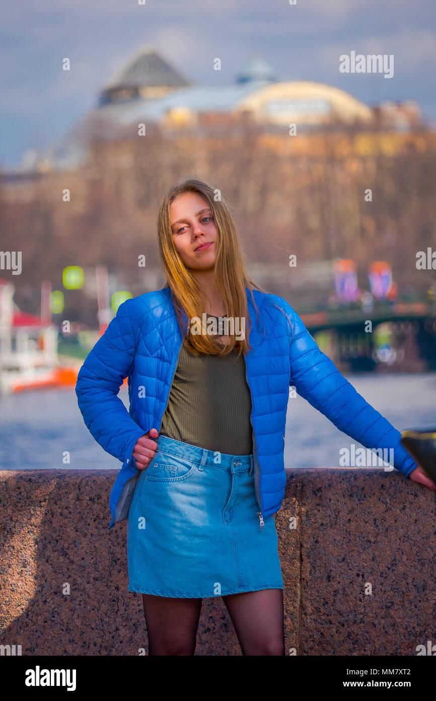 st petersburg russia 01 may 2018 blonde russian woman wearing
