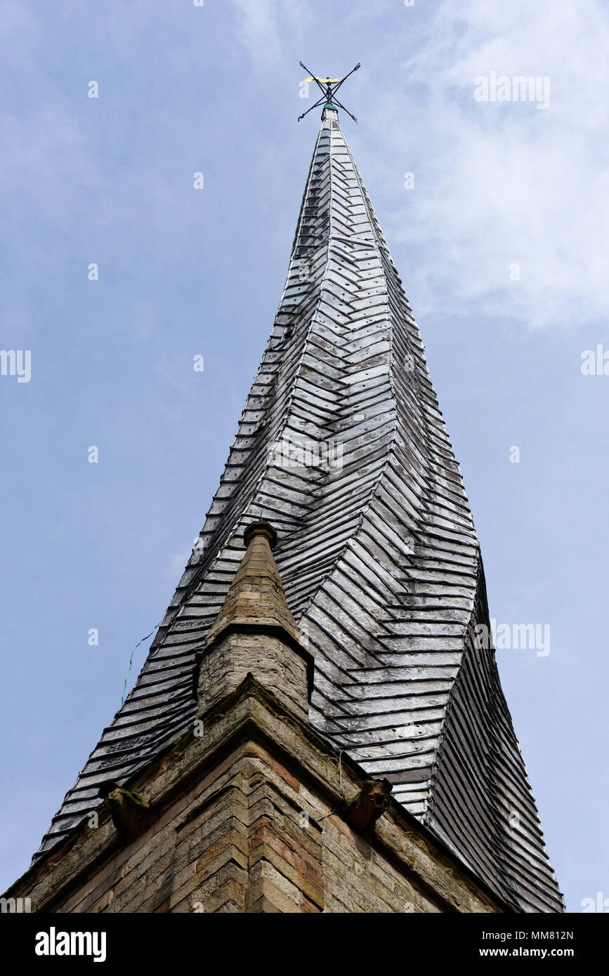 Chesterfield's famous crooked spire on St Mary's Parish Church - Stock Image