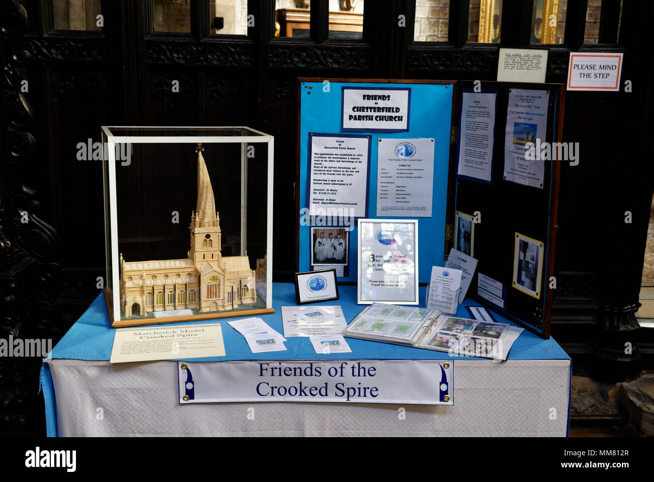 A matchstick model of Chesterfield's famous crooked spire - Stock Image