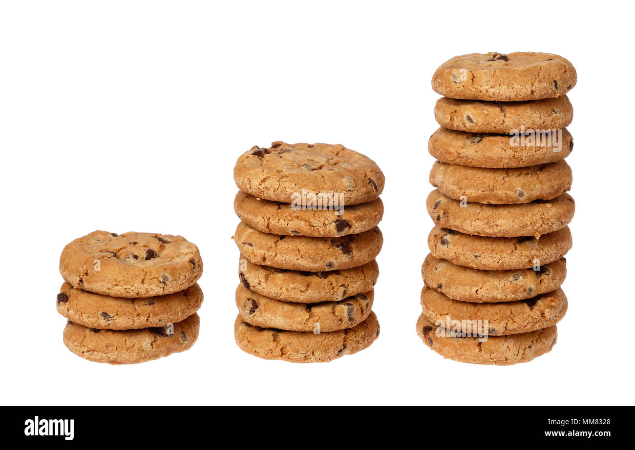 Three stacks of chocolate chip cookies in rising succession on a white background. - Stock Image