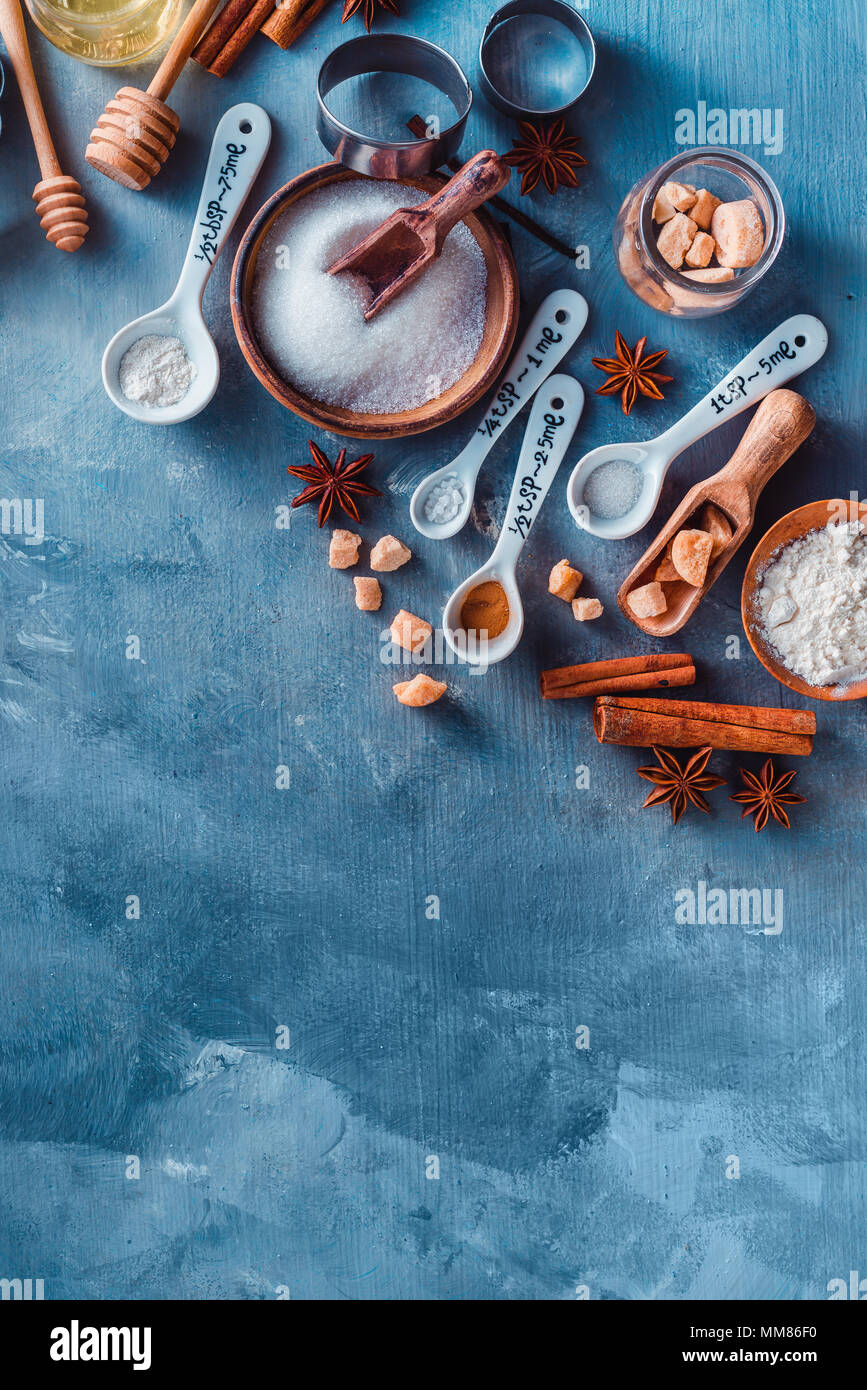 Cooking pastry concept from above. Kitchen utensils for baking ...