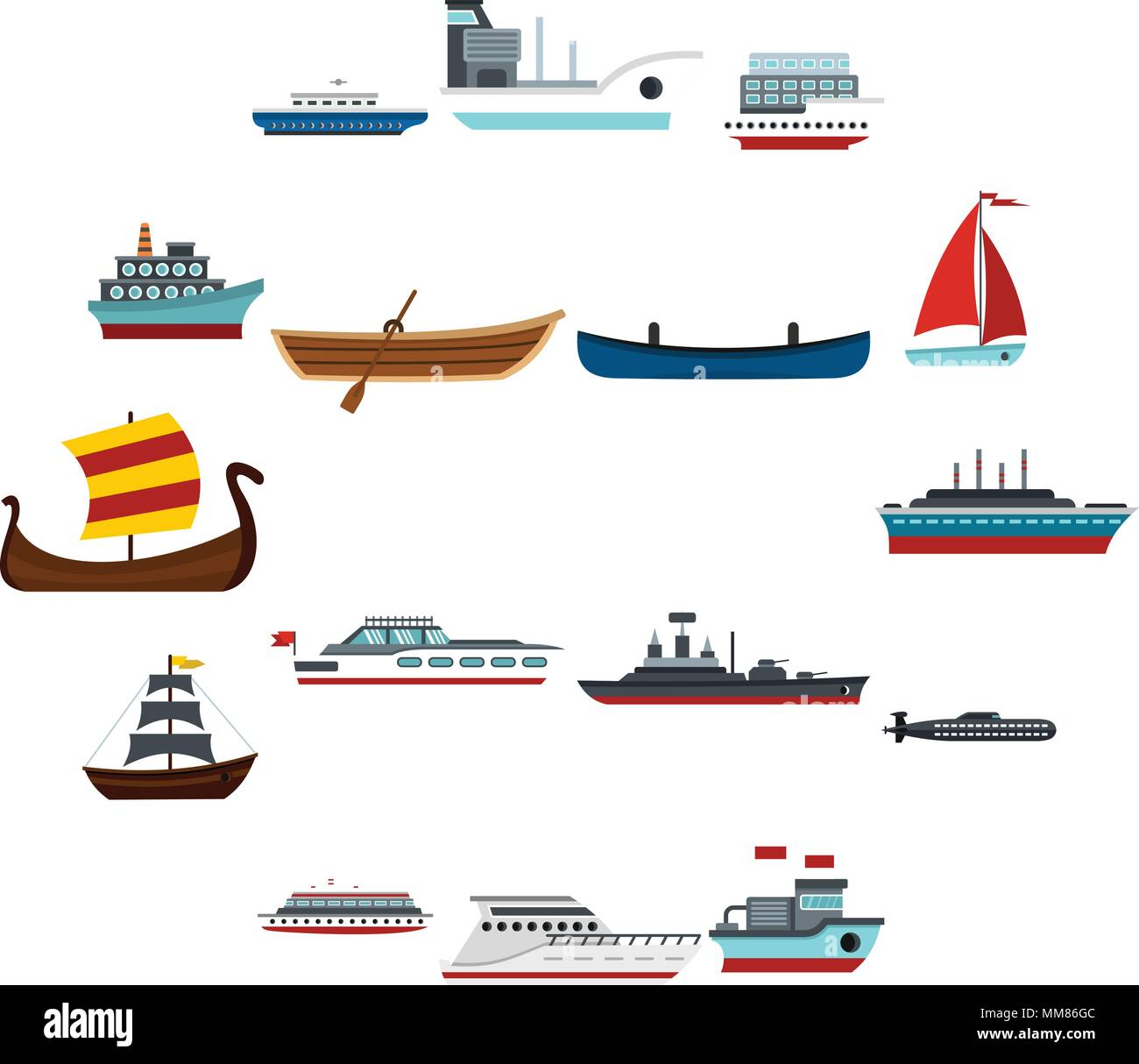 Sea transport set flat icons Stock Vector Art & Illustration
