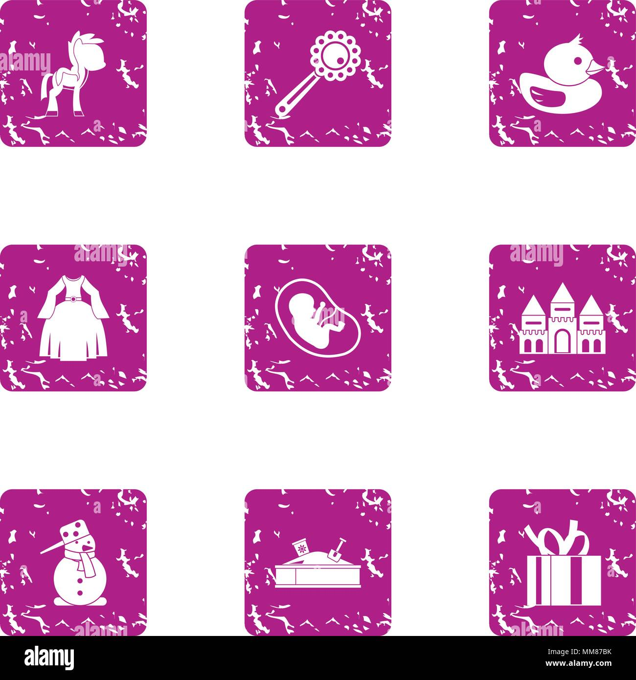 Children beginning icons set, grunge style - Stock Image